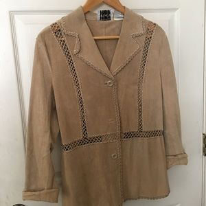 Beige leather jacket